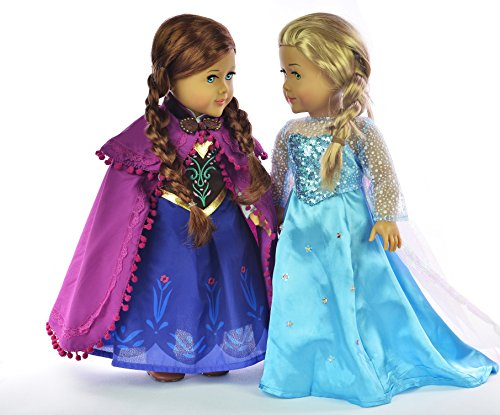Ebuddy Sparkle Princess Dress Inspired By Elsa And Anna Fits 18 Inch Girl Doll (Fba)