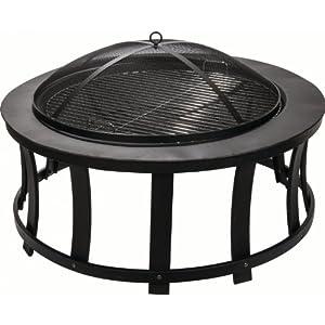 Alpine Flame 35-inch Black Wood Burning Fire Pit With Slat Design