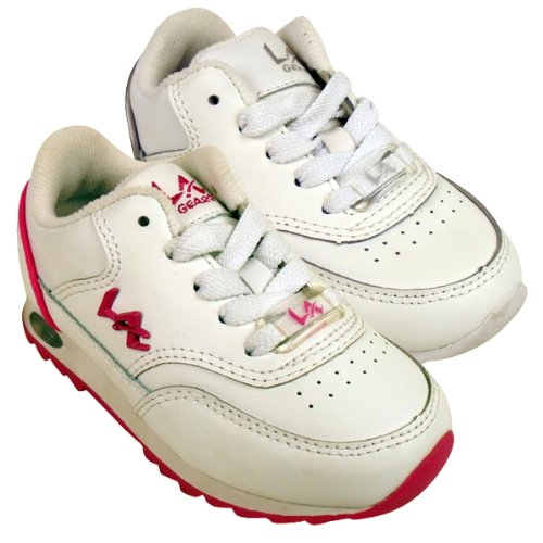 Girls Junior Kids La Gear Lace-Up Trainer White Running Trainers Shoes UK 7 10