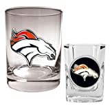 NFL Denver Broncos Rocks Glass & Shot Glass Set - Primary Logo