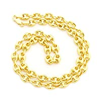 14k Solid Yellow Gold 6.9 mm thick Puffed Mariner Chain Necklace – 18″ 20″ 24″