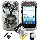 4 items Combo: ITUFFY (TM) LCD Screen Protector Film + Mini Stylus Pen + Case Opener + Design Rubberized Snap on Hard Shell Cover Faceplate Skin Phone Case for ZTE Fury N850, ZTE Director N850L, and ZTE Valet Z665C, Android Smartphone (Skull Tree)