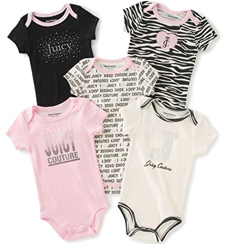 Juicy Couture Baby Girls' 5 Pack Bodysuit, Black/Pink, 0-3 Months