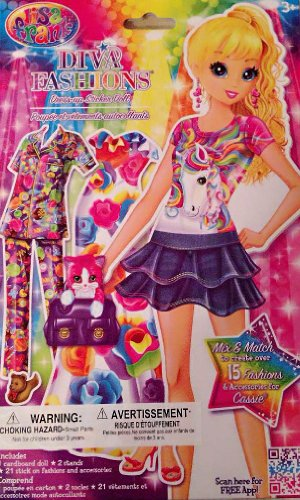 Lisa Frank Diva Fashions Dress Up Paper Sticker Doll - Varied Character - 1