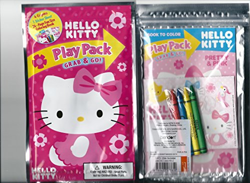 Sanrio Hello Kitty Play Pack Grab & Go Pink Flowers Coloring Book and Crayons Set with Sticker Sheet - 1