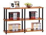 3 Tier 2 Column Bookcase Storage Cabinet - Cherry Finish