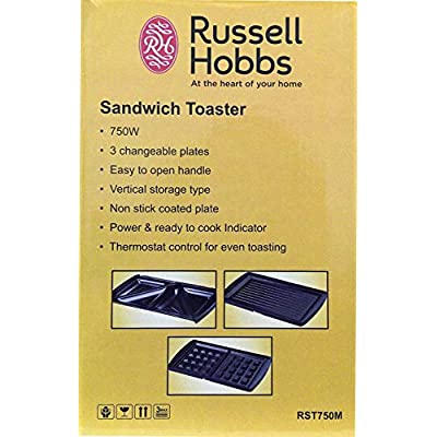 Russell Hobbs Sandwich Toaster RST750M – With Triangle Plate + Grill Plate + Waffle Plate