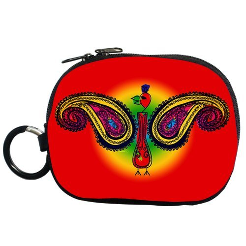 Tribal Paisley Peacock Personalized Coin Purse (Two Side) front-1056043