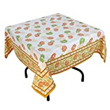 "Handmade Indian 54"" Square Tablecloth - Green, Orange And Yellow Floral Cotton"