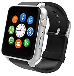 SUPVIN® GT88 Water Resistant Heart Rate Monitor Bluetooth Smartwatch Support SIM Card NFC Smart Watch for IOS Android System Smartphones (Silver)