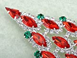 Synthetic Ruby Marquise Clear Crystal Rhinestone Christmas Tree Holiday Fashion Pin Brooch