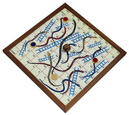 Schlangen und leitern brettspiele – magnettafel und stücke mit spielanleitung – holz einzigartige brettspiel -1,3 x 25,4 x 25,4 cm