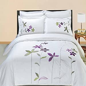 South Garden Embroidered 4-piece Full / Queen Comforter Set 100 % Egyptian Cotton 300 Thread Count by Royal Hotel Bedding