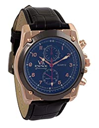 Addic EWWE Dark Blue Dial With Black Circular Bezel And Black Leather Straps Watch For Men (26)