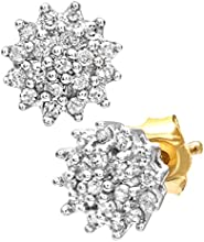 Naava Women's 9ct Yellow Gold 0.25ct Diamond Cluster Earrings