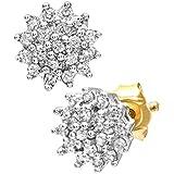 Ariel Women's 9ct Yellow Gold 0.25ct Diamond Cluster Earrings