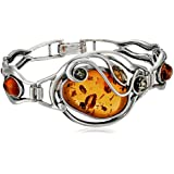 Multicolor Amber and Sterling Silver At Deco Bangle Bracelet 7.5""