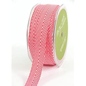 May Arts 3/4-Inch Wide Ribbon, Red Twill with Chevron Stripes