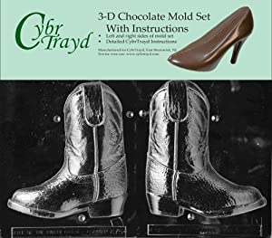 Cybrtrayd K075AB 3D Cowboy Boot Chocolate Candy Mold Bundle with 2 Molds and Exclusive... by CybrTrayd