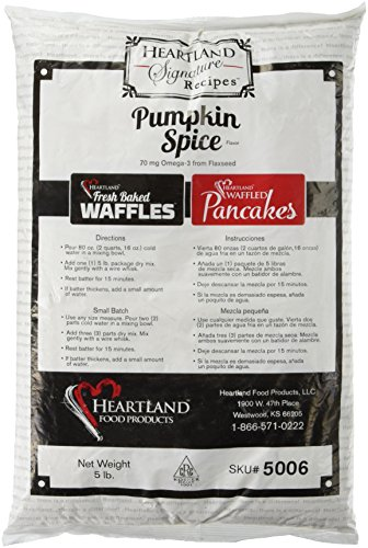 Heartland Food Products Belgian Waffle Mix, Pumpkin Spice, 5 Pound Review