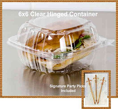 Pack of 100 Small Clear Plastic Hinged Food Container 6x6 for Sandwich Salad Party Favor Cake Piece (Cake Slice Container compare prices)
