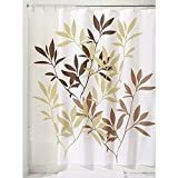 InterDesign Leaves Shower Curtain, Brown, 72-Inch by 72-Inch