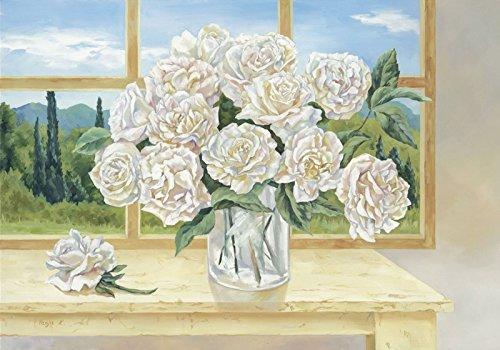 Modell-quadro Poster Stampa artistica Artland da parete-quadro Tanja Kowak con Rose ricamo davanti finestra dimensioni 69 x 99 x 1,2 cm