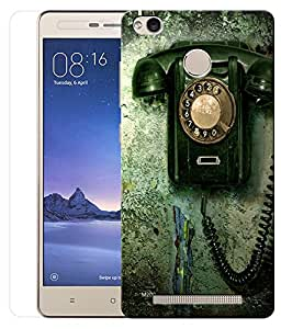 Indiashopers Combo of Green Telephone HD UV Printed Mobile Back Cover and Tempered Glass For Xiaomi Redmi Note 3S Prime