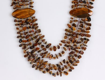 Amour NG700MBR 20-24in. 6-Strand 950ct TGW Tiger Eye Chips Necklace with 15mm Brass Spring Ring Clasp