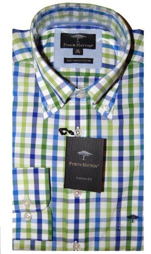 Fynch Hatton Mens Casual Shirt 131-6600 Blue-Green (Medium)