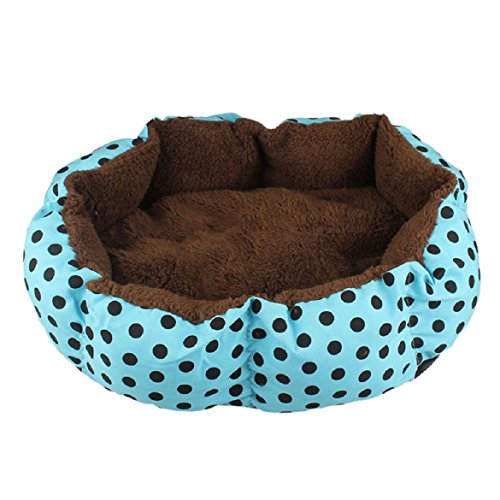 ABC® Fleece Pet Dog Cat Warm Bed House Plush Cozy Nest Mat Pad (Blue, Small:36cmX30cm)