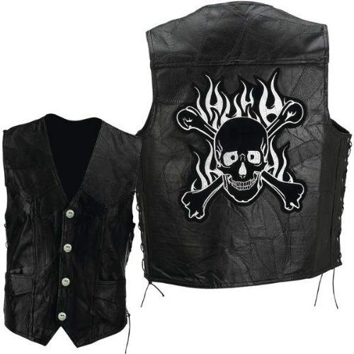 Diamond PlateTM Rock Design Genuine Buffalo Leather Motorcycle Vest with Skull and Crossbones Embroidered Patch