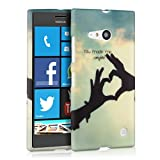 kwmobile CUSTODIA IN TPU silicone per Nokia Lumia 730 / 735 Love Design Celeste Bianco Nero - Stilosa custodia...