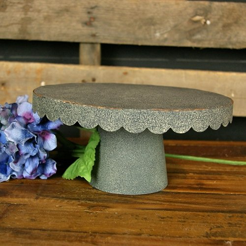scalloped-cake-tray-stand-rustic-galvanized-metal-medium