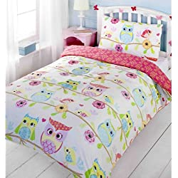 GIRLS TWIN OWLS & BIRDS ON A BRANCH PINK BLUE COTTON DUVET SET QUILT COVER