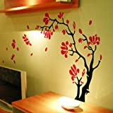 DIY Wall Poster Stickers Magnolia Flowers : Coffee+Rose Red M
