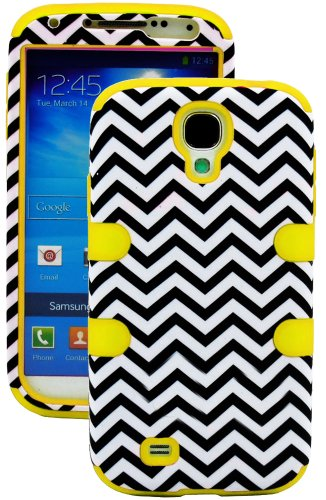 "Mylife (Tm) Yellow - Chevron Design (3 Piece Hybrid) Hard And Soft Case For The Samsung Galaxy S4 ""Fits Models: I9500, I9505, Sph-L720, Galaxy S Iv, Sgh-I337, Sch-I545, Sgh-M919, Sch-R970 And Galaxy S4 Lte-A Touch Phone"" (Fitted Front And Back Solid Cover"