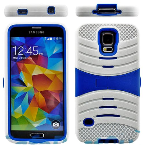 Mylife (Tm) Bright True Blue And Vibrant White - Shockproof Survivor Series (Built In Kickstand + Easy Grip Ridges) 2 Piece + 2 Layer Case For New Galaxy S5 (5G) Smartphone By Samsung (Internal Flex Silicone Bumper Gel + Internal 2 Piece Rubberized Fitted