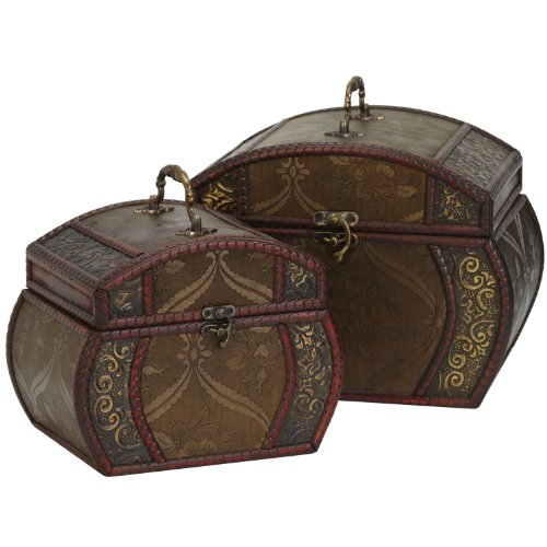 Nearly Natural 528 Decorative Chests, Brown, Set of 2