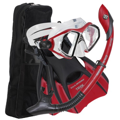 US Divers Admiral LX Island Dry Trek Snorkel Set Red,