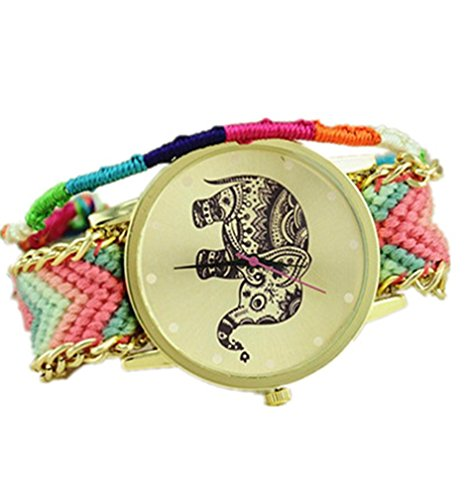 Design: elefante in stile tribale, da donna, in lana, Orologio con quadrante per Braid#3, colore: rosa