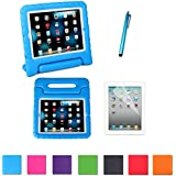 HDE Kids Light Weight Shock Proof Handle Case for Apple iPad 2/3/4 w/ Screen Protector & Matching Stylus (iPad 2/3/4, Blue)