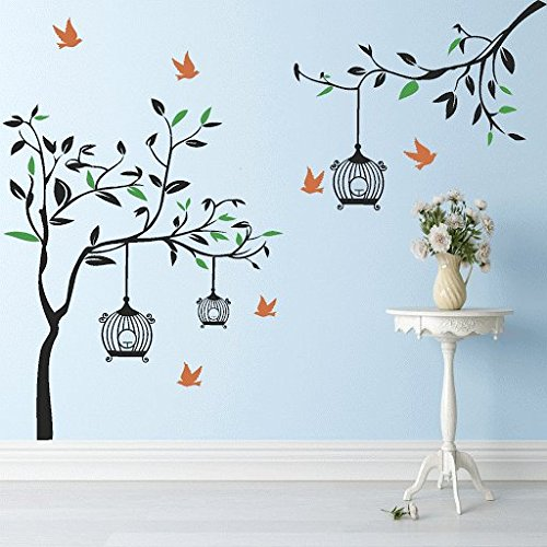 DeStudio Black Tree With Cage And Bird, Multi Color, Wall Stickers (Wall Covering Area : 155cm X 125cm)-12384