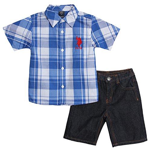 U.S. Polo Assn. Little Boys' Short Sleeve Woven Shirt And Denim Short Set, Strong Blue, 3T front-236421