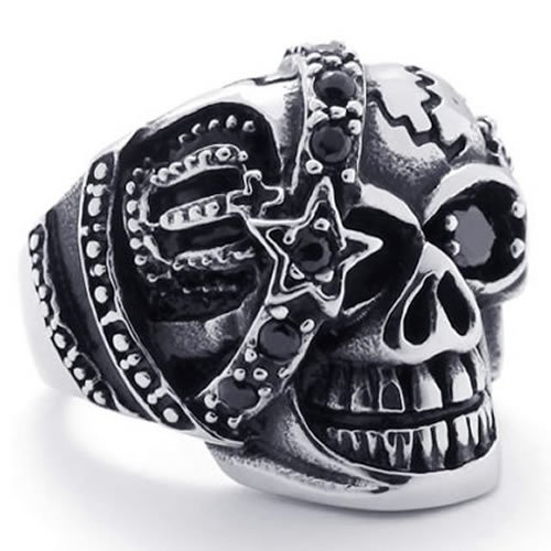 KONOV Jewelry Gothic Skull Cubic Zirconia Stainless Steel Men's Biker Ring, Silver Black (Available in Sizes 8 - 14) - Size 10