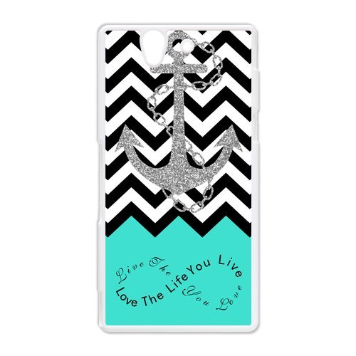 Live the Life You Love, Love the Life You Live. Turquoise Black White Chevron with Anchor luxury cover case for HTC Desire 816 ALL MY DREAMS (Htc Mobile Price compare prices)