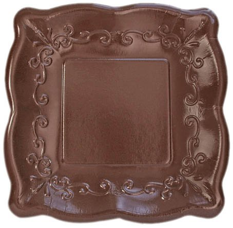 "Elise Scalloped Embossed 10"" Square Premium Paper Banquet Plates, 8 Count, Cocoa Bean"
