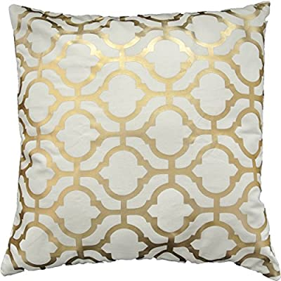 "Gold Foil Geometric Print Decorative Throw Pillow COVER 18"" Gold"