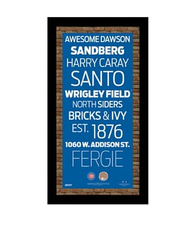Steiner Sports Memorabilia Chicago Cubs Subway Sign With Authentic Dirt From Wrigley Field, 20 x 10...