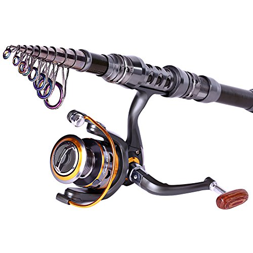 Sougayilang spinning rod and reel combos carbon telescopic for Fishing rod set